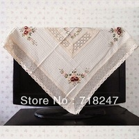 Free Shipping Hot Sale 110*110cm Cotton / Linen Elegant Crocheted Tablecloths Ribbon Embroidery Table Cloth Linen Covers