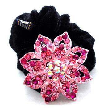 flower fashion hair elastics ladies' hair scrunchy alloy rhinestones wholesale hair accessories for women MS01312 Free Shipping
