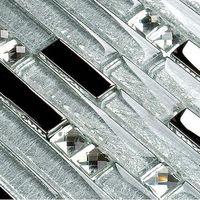 Interlocking Mosaic Tile Backsplash diamond Crystal Glass Tiles Mirrored Wall Stickers Kitchen design Bathroom shower Tile YG001