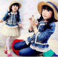 Free Shipping 2014 New Fashion Winter Autumn Kids Children's Girl Denim Jeans coat/kids dress coat/baby clothing jacket