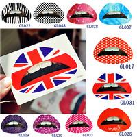 FreeShiping 10pcs Lip Sticker Transfer Disposable Lips Tattoo Lipstick Art Makeup Tools P100-10