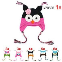 Wholesale Cartoon Designs 100%Cotton Handmade Children newborn animal Crochet Hat Animal Styles Baby Owl Beanie hat Kids cap