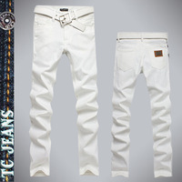[TC Jeans] white denim jeans for male clothing men's pants skinny slim true man jeans  fashion leather brand 2013 style