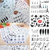 Set of 10 Sheets Mixed Design Temporary Tattoos Art Transfers Skin Sticker Body Art Design Random