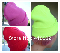 M001--Min.order 5 usd Fashion women winter Hat Skull Cap beanie for men Knitted Hat 24 fluo colors  Hip-hop Cap