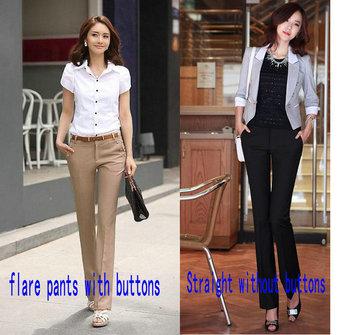 Free shipping 2015 Autumn-Summer Women OL high Waist Street Overalls formal Work Pants western-style trousers Plus Size XS-XXXL
