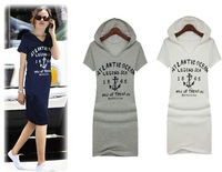 Free shipping 2014  women's clothing  new casual fashion short sleeves hoody cotton dress letter dresses  No Fading dresses