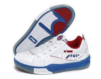 shop Authentic Li-Ning on court Baron Davis basketball shoes men white - blue ABPG169-2