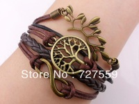 (Min Order $7) Charms Infinity Bronze Karma Branch Wish Tree Brown Rope Men Girl Leather Bracelet Gift Cuff Wrist Women Jewelry