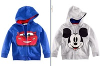 Retail New Arrival Boys Girls Terry Long Sleeve Zipper Hoodies Mickey And Car Cartoon Top Kids T-Shirts Fit 2-6 Yrs