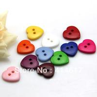200x 12mm Cute Heart Button Child Buckle Cartoon Plastic Button lot Mix color