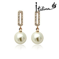 Italina Rigant Fashion Pearl 18K Real Gold Plated Stud Earrings For Women Made With Austrian Crystal