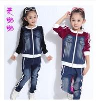 Free Shipping Children'S Clothing 2014 Autumn Female Child Sports Set Spring And Autumn Child British Style Denim Velvet Set