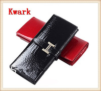 2014 Classic Crocodile Design Women Clutch High Quality Genuine Leather & PU Brand Women Wallet Luxurious Two Fold Long Wallet