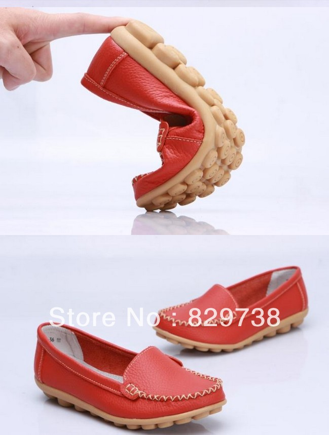 Promotions!!New 2014 Women genuine Leather Shoes Slip-on Ballet women Flats Comfort Anti-skid woman Shoes 8 Colors moccasins(China (Mainland))