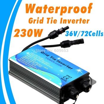 230W Waterproof Grid Tie Inverter,36V panel,72 Solar cells,22V-46VDC,MPPT function,Pure Sine wave 90V-260V output