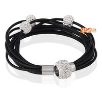 Wholesale Fashion Crystal Magnet  Buckle Black Leather Charm Bracelets For Women