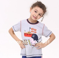 FREE SHIPPING C4161# Kids wear clothing 2013 fashionthe George peppa pig pirate t-shirts with Ship Ahoy