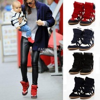 Hot ! Fashion Women Leather Casual Boots Height Increasing Sneakers heels Shoes 4Colors 5 Sizes 17921