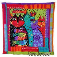 100% Silk Scarf Square Big Women Kids Vivid Colored Cats Animals Laurel Burch's Fantastic Felines Art Painting Hand Rolled Hem