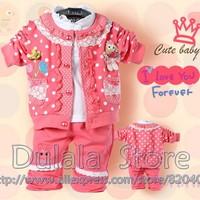 New Arrival Autumn Children Suit Baby Clothing Sets Girls Clothes 3Set/lot  Shirt +Jacket+ Pants Kids Clothes/baby Fashion Suits