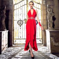 Free Shipping L1348 Red Bride Toast Clothing Deep-v Halter Strap Bridesmaid Dress Fashion Long Section