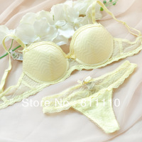 Trend Knitting  2013 New Arrival Sexy comfortable Lace embroidery Yellow bra set  Intimates Big size