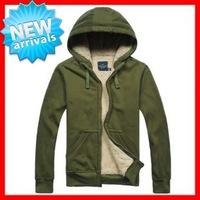 2013   Men's  Big  Size(S-3XL)  Thicken Lamb Fur Inside Upset   Hoodies  with a Hood Sweatshirt  G1458   Chest 110-150CM