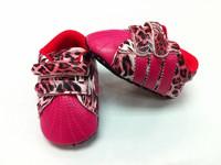 Sports Brand Baby girl's pink leopard print flower sneaker retail first walker shoes