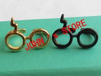 Gold Plated Adjustable Glasses Band Geek Modern Design Lightning Scar Gift for Her ring