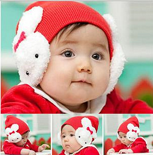 A0038 Baby Infant Toddler Kids Boys Girl Children Winter Cap Protective Ear Flap Warm Hat Crochet Rabbit Beanie Free Shipping