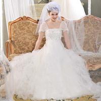 Free Shipping S610 Luxury Trailing Wedding Dress Toast Clothing Butterfly Short Sleeve