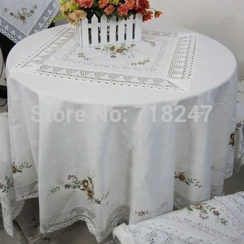 Free Shipping Sale 180cm Round Elegant Cotton / Linen Embroidery Tablecloths Embroidered Table Cloth with Lace Linen Covers