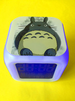 Free shipping !TOTORO colorful bell seven color mood alarm clock allochroism alarm thermometer alarm