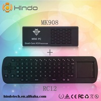 MK908 Quad Core Rk3188 A9 2GB RAM MK908 Android 4.2 mini PC Google TV Box Dongle Stick with RC12 Wireless Keyboard