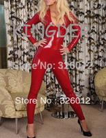Latex red bodysuit sexy garment