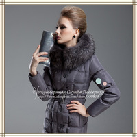 SEND OUT IN 25 DAYS After Payment!!!2013 plus size medium-long down coat big raccoon fur down Russian Support
