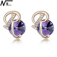 MT JEWELRY Austrian Crystal Jewelry Alphabet Letter Initial Earrings