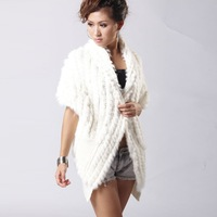 Long Knitting Rabbit Fur vest Fashion casual coat cape gilet jacket  020145