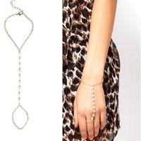 2014 Fashion romantic pearl bracelets long chain women chains bracelet set Free shipping