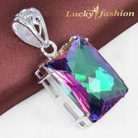 Fashion Queen party jewelry square rainbow mystic topaz pendants silver dangle pendant nacklace
