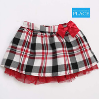 9M-4T baby girls plaid Yarn Lining with bow skirt children girl kids mini tutu skirts girl's lattice fashion skirt
