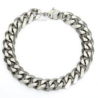 CUSTOMIZE SIZE Stainless Steel Curb Bracelet Chain Silver Tone bracelet  Fashion Mens Boys jewelry LKBM03