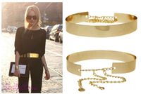 2014 NEW FREE SHIPPING Women Full Metal Mirror Waist Belt Metallic Gold Plate Wide Obi Band With Chains Lady Punk Rocky