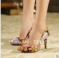 DropShiping ! 2013 autumn Women's Pumps Sexy Vintage floral Print Red Bottom pointed toe thin High Heel dress Shoes
