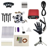 Free shipping Cheap beginner Complete Tattoo Kit Custom Machine Black Ink Power Pedal Needles Grip