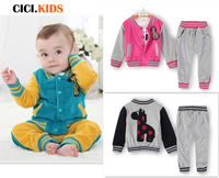 2013 autumn 3pcs velvet clothing set for girls and boys children long-sleeve outwear suit deer appliques baby boy set