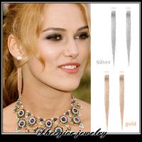 brand fashion gold  tassel earring Fashion temperament Metal earring for women girls ear jewelry earrings Mini order $15