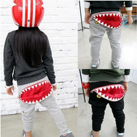2013 autumn fall winter new arrival children clothing kids cotton terry girls cartoon animal shark zipper pants boys 3T-10
