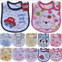 5pcs/ lot Animal Style Baby Feeding Saliva Towels Kids Waterproof Bib Infant Bibs Cotton Children Cartoon Accessories Pinafore